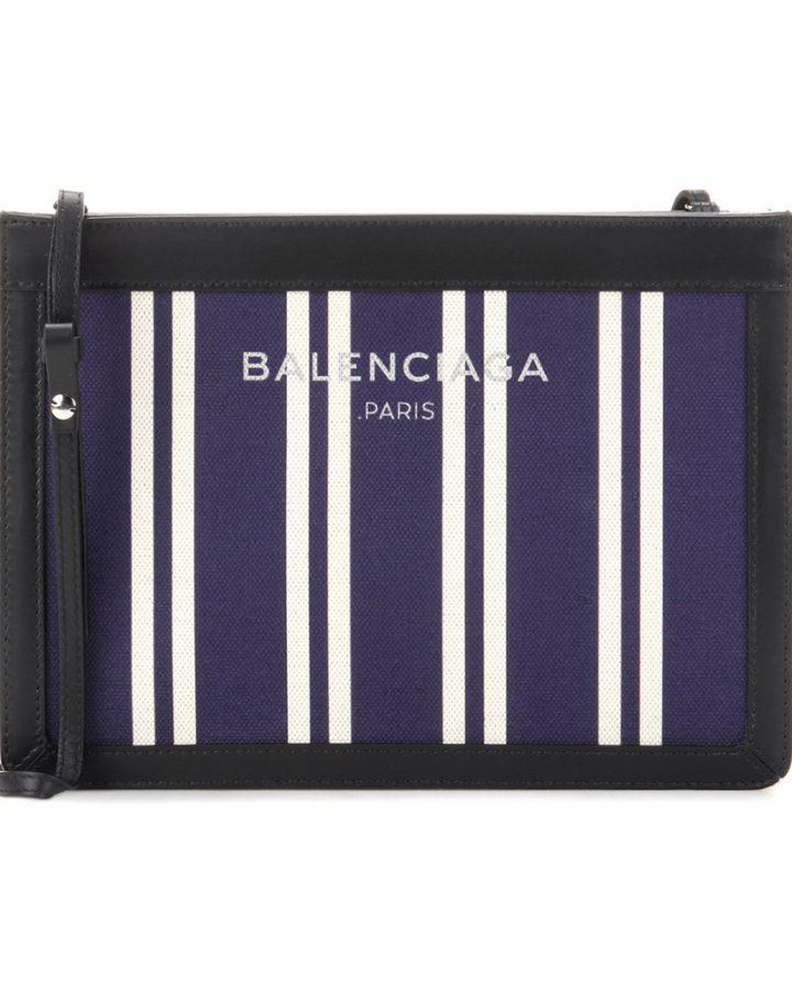 DEL ROSA AL AMARILLO BALENCIAGA canvas stripe pochette bolso azul marino lineas