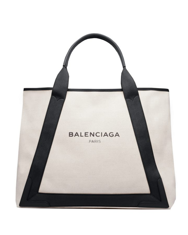 DEL ROSA AL AMARILLO BALENCIAGA canvas black white bag navy tote bolso negro y blanco