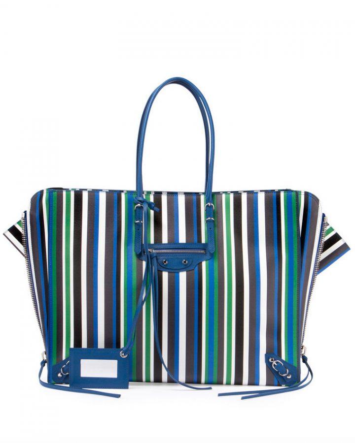 DEL ROSA AL AMARILLO BALENCIAGA papier blue stripes bag