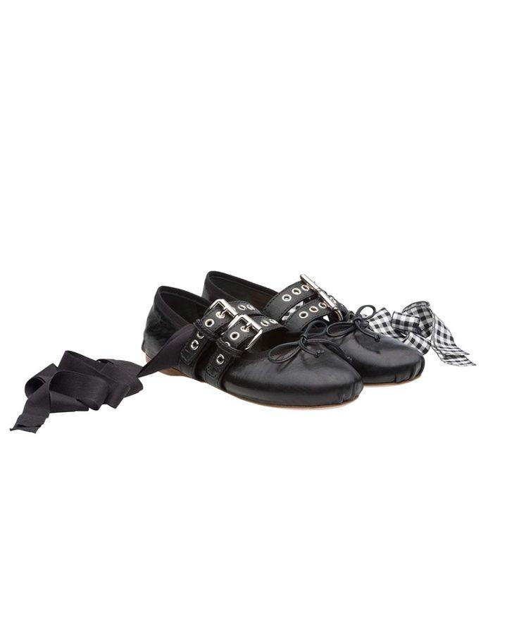 Miu miu plattform black vichy ballerinas Del Rosa al Amarillo Santander plataforma bailarinas negro vichy