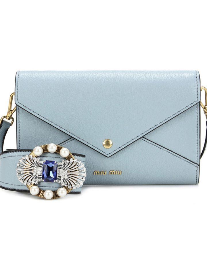 del rosa al amarillo MIU MIU piel JEWEL blue BAG joya azul bolso piel