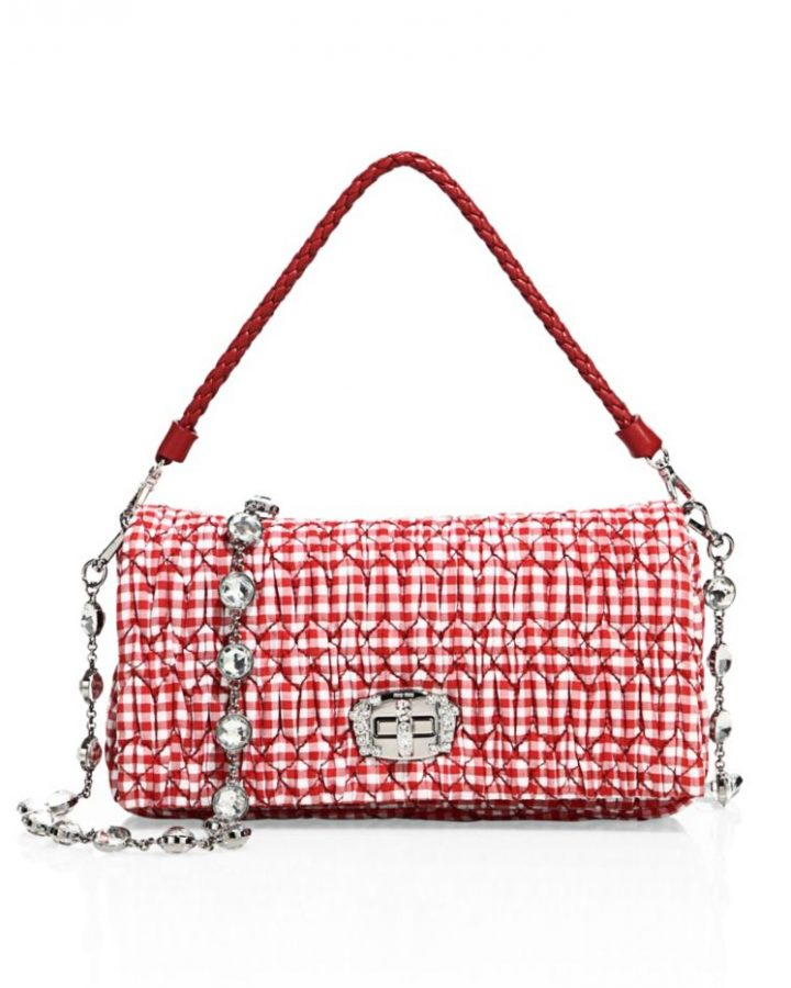 del rosa al amarillo MIU MIU piel JEWEL vichy red shoulder BAG joya rojo bolso