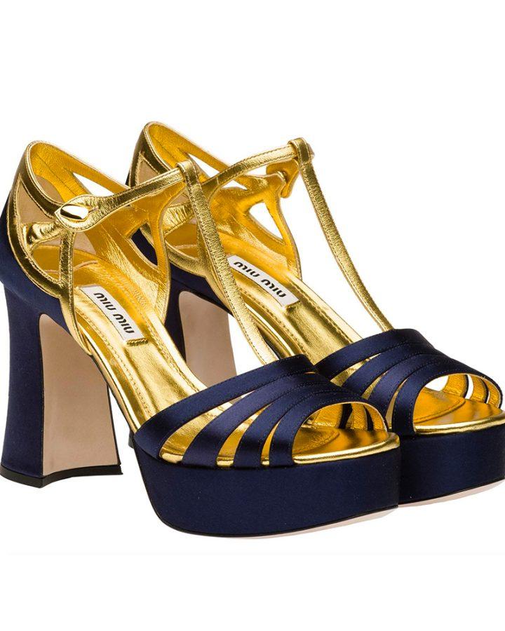 Miu miu peep toe baltic blue gold Del Rosa al Amarillo Santander azul marino oro
