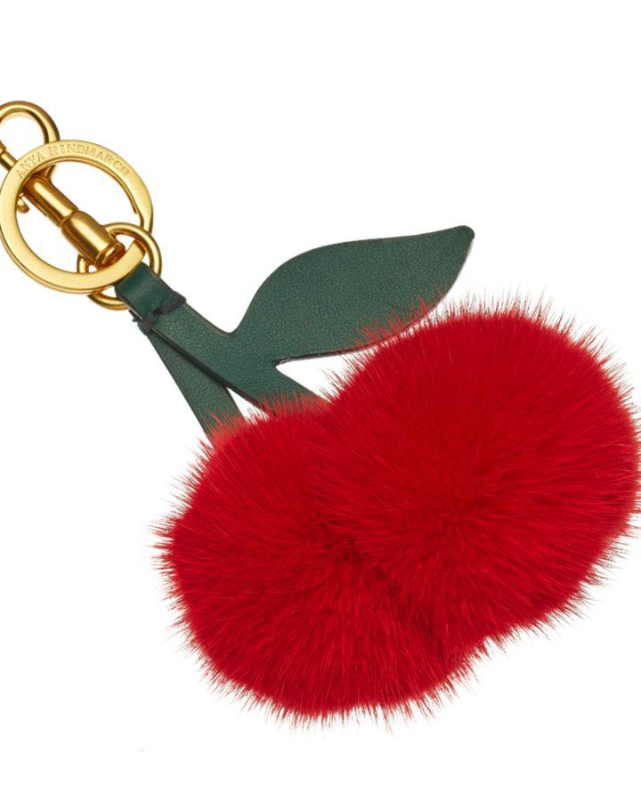 DEL ROSA AL AMARILLO Anya Hindmarch Shearling Tassel Cherry accesories Llavero cerezas