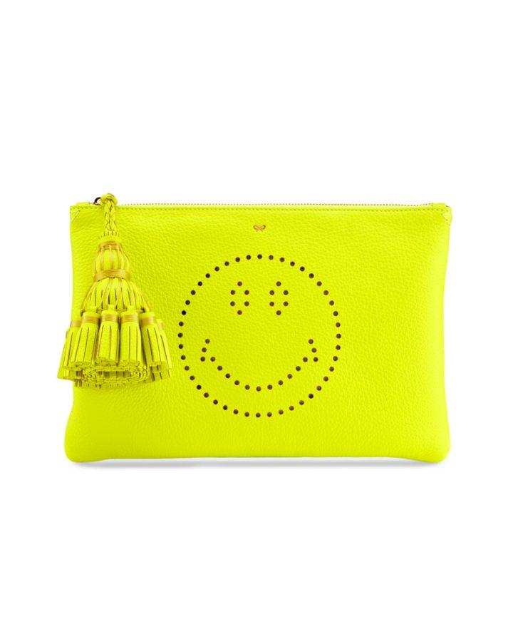 DEL ROSA AL AMARILLO Anya Hindmarch Smiley Clutch bag Yellow neon amarillo fluo bolso