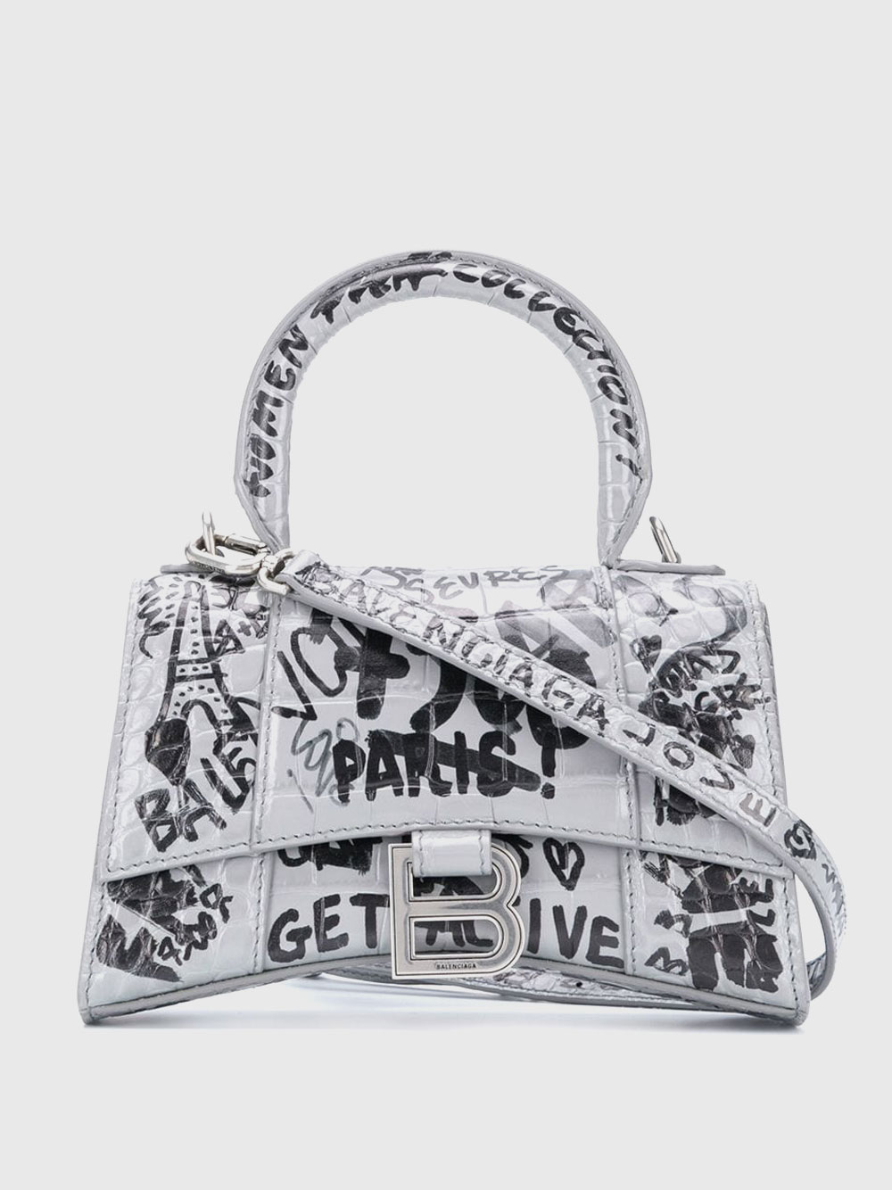 XS Hourglass Top Handle Bag with Graffiti Pattern